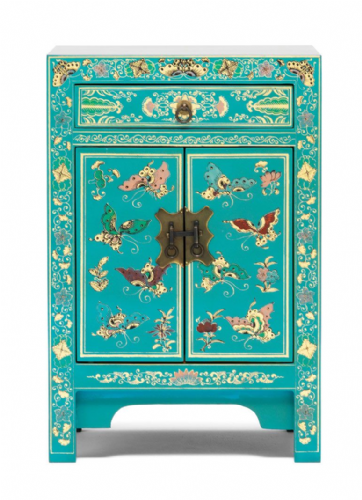 Decorated Blue Small Cabinet
